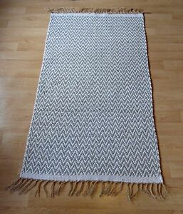 Image Is Loading Cotton And Jute Chevron Patterned Rug Light Grey
