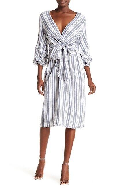 NWT Max Studio Tie Waist Bubble Sleeve Cotton Dress Size XS Retail  138