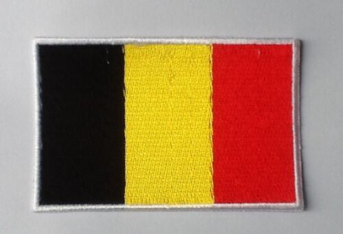 BELGIUM BELGIAN NATIONAL COUNTRY FLAG BADGE IRON SEW ON PATCH CREST EUROPE