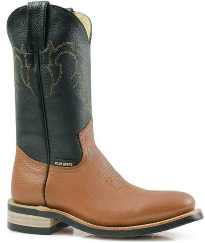 Stivali western in pelle e suola in cuoio gambale nero piede cognac Billy Boots