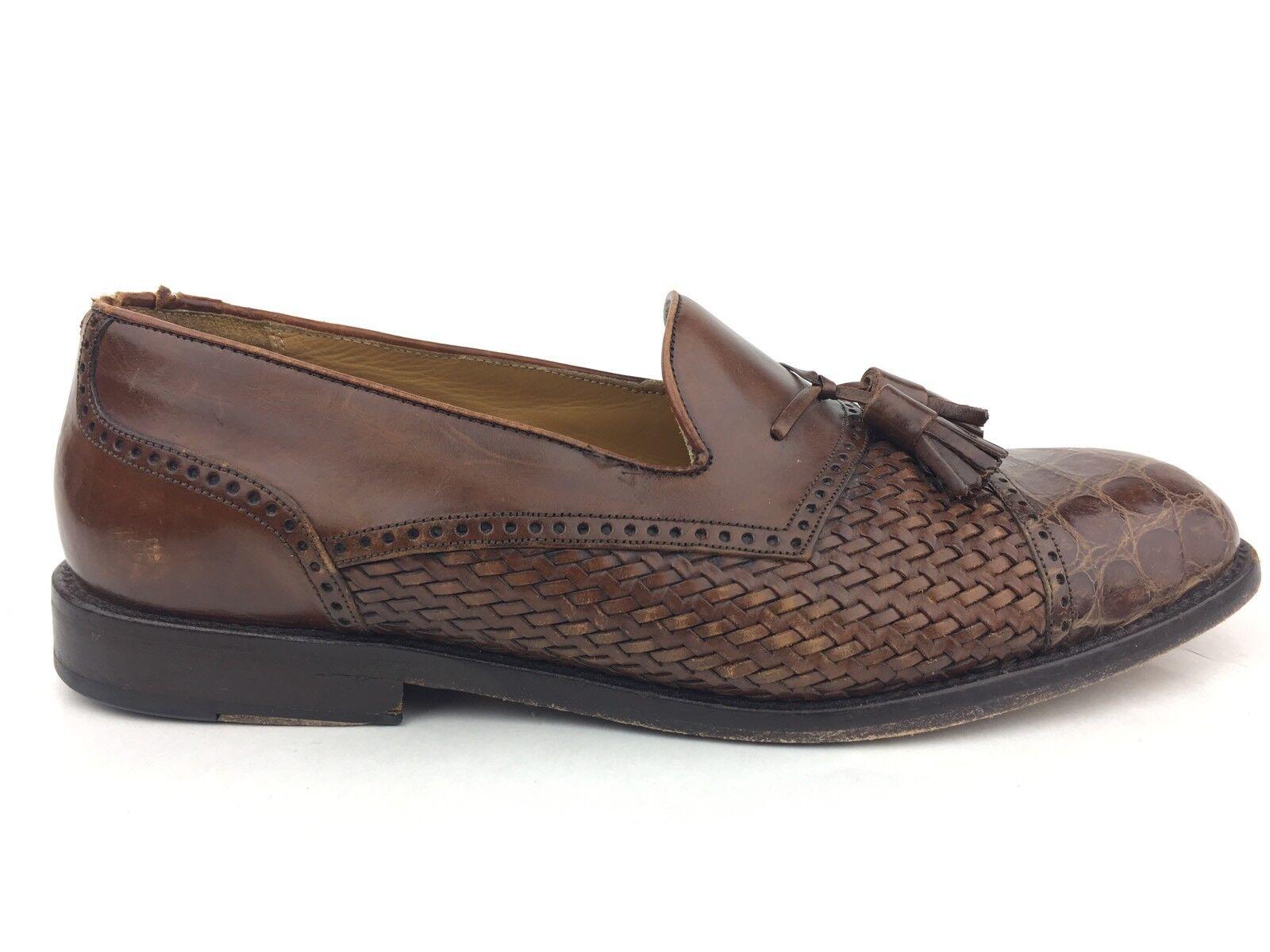 Mezlan Carmel 9W shoes, Genuine Crocodile, Mens Tassel Loafers, Made in Spain