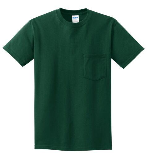 M MENS Pocket T-Shirt Gildan 100/% Cotton PRESHRUNK Tee Sizes S XL NEW L