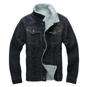 Men S Casual Sherpa Lined Shearling Thickened Winter Denim Trucker