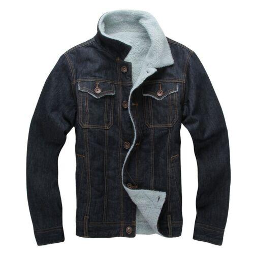 Jean invierno Shearling Sherpa para engrosado forrado Jacket Trucker Casual Denim hombres xTYRzwBRqS