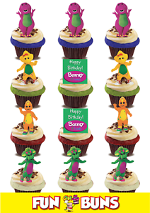 Details About BARNEY FRIENDS MIX Edible WAFER Standup Cake Toppers Kids TV Birthday Fun
