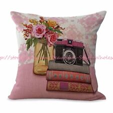 US SELLER-flower retro camera books cushion cover decorative pillows and throws