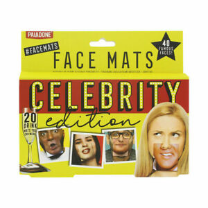 20-Celebrity-Double-Sided-Party-Face-Mats-Drinks-Beer-Face-Coaster-Novelty-Gift