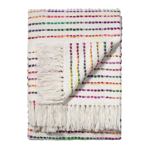 Commerce Équitable Rainbow Threads 125x150cm Coton Rayé Sofa Canapé Couvre-Lit Jeter
