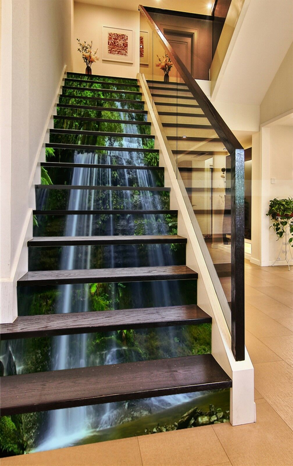 3D Stream Tree 13 Stair Risers Decoration Photo Mural Vinyl Decal Wallpaper CA