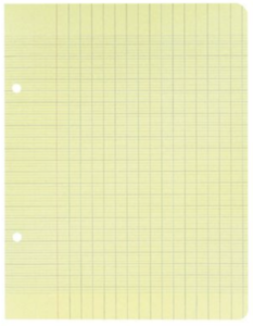 100 pages, 50 feuilles simples A4 grands carreaux (Seyes) perforées - JAUNE