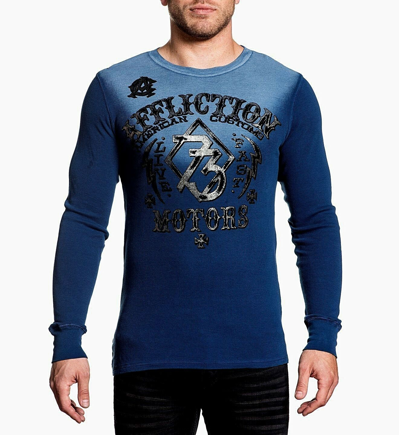 NWT AFFLICTION bluee LIVE FAST MOTORS Long Sleeve Thermal Shirt Mens Large