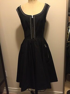 Prada Black Studded Cotton Full Circle Dress Chrome Zipper Front Sz 46 NWT