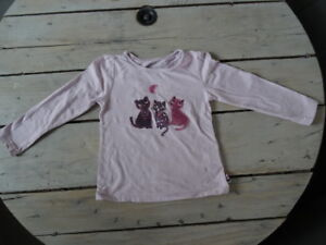 T-shirt-parme-manches-longues-col-rond-brode-chats-SERGENT-MAJOR-Taille-5-ans