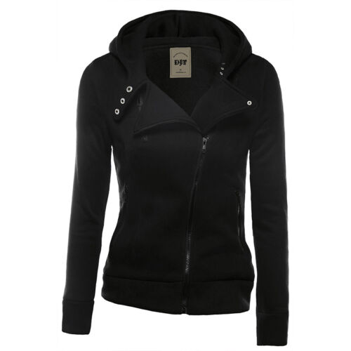 Ladies Plain Zip Up Hoodie Sweatshirt Women Sport Casual Jacket Warm Hooded Tops