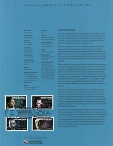 #0509 37c Scientists Stamps #3906-09 Souvenir Page