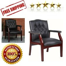 Executive Guest Chair Ivy League Office Home Elegant Traditional Mahogany Black