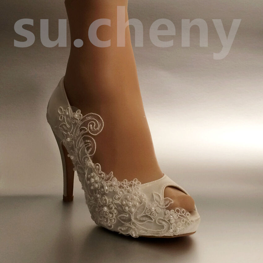 Su.cheny 3  4  heel pearls white white white ivory silk open toe Wedding Bridal heels shoes aa3488