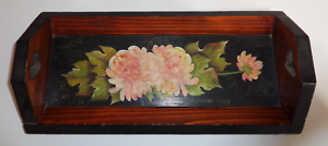 Vintage-Hand-Painted-Wooden-Heart-Handled-Wood-Serving-Tray-Flowers-Floral