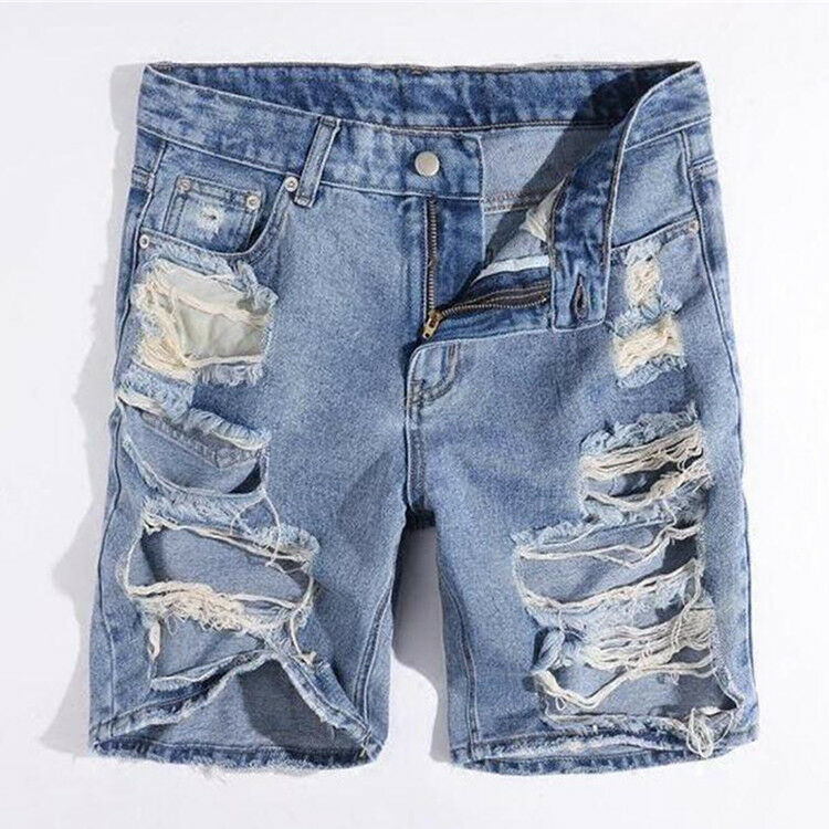 Men's Summer Casual Denim Ripped Hole Short Pants Jeans Trousers Fashion zhou8