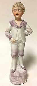 "Vintage Bisque Porcelain 8.5"" Colonial Boy In Purple Figurine"