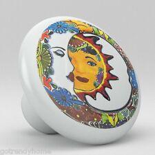 Moon Sun Talavera Design Ceramic Knobs Pulls Kitchen Drawer Cabinet Dresser 1182