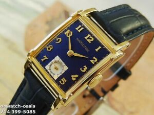 1948-Vintage-HAMILTON-PERRY-Stunning-Navy-Blue-Dial-Serviced-with-warranty