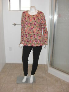 White Stagg Womens Floral Top Long Sleeves Size 16/18 XL