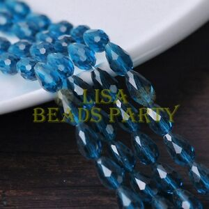 New-30pcs-12X8mm-Faceted-Teardrop-Crystal-Glass-Spacer-Loose-Beads-Peacock-Blue