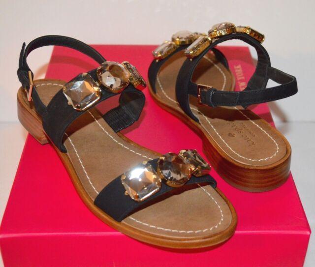 5983f23315 New $268 kate spade Bacau Black Nubuck Suede Sandal Ankle Strap Block Heel  sz 7