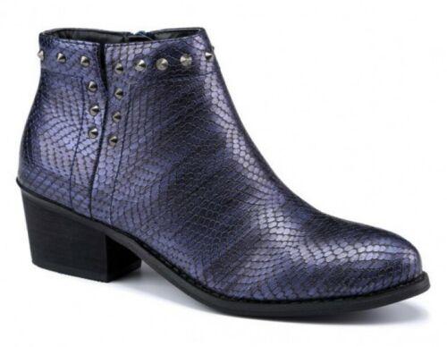 Femme en Cuir Synthétique Lézard imprimé Rivets Cow-Boy Zip Cheville Bottes Chaussures Taille