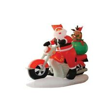 Christmas Inflatable Santa Claus Reindeer Motorcycle Bike LED Lights Decoration