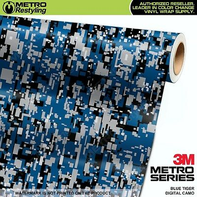 DIGITAL BLUE MIDNIGHT Camouflage Vinyl Car Wrap Camo Film Sheet Roll Adhesive
