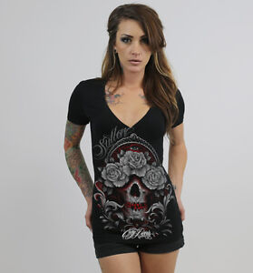 Sullen Pin Up Street Bike Gothic Americana Tattoo Womens LCT Tee DOWN SPARROW