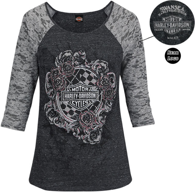 Harley Davidson Entangled Grey Ladies T-Shirt Swansea Limited Edition