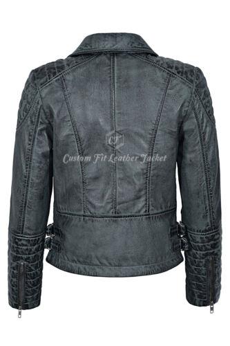 Ladies Leather Jacket Grey Vintage Gothic Biker Style 100/% REAL NAPA 7120