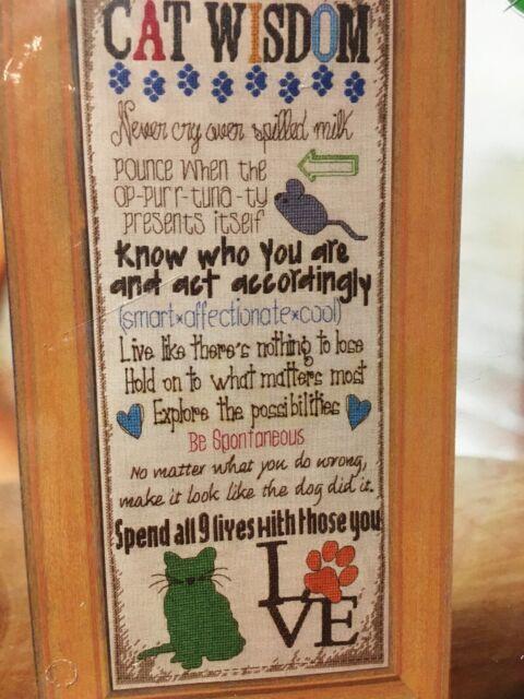 Cat Wisdom Counted Cross Stitch Kit NIP Bucilla Evenweave Fabric