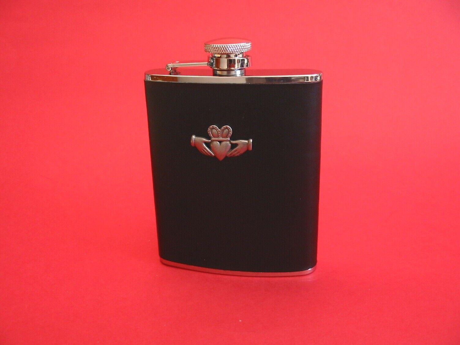 Claddagh Black Leather 6oz Hip Flask Irish Love Token Gift