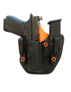 CARBON FIBER~ Kydex Holster For Glock 43x Gun Mag Combo IWB Concealment ~ORANGE