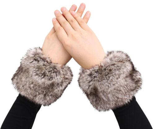Ladies Winter Warm Fuzzy Faux Fur Wrist Cuff Bracelet//Wristband