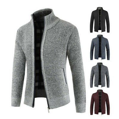 DI SPESSA COLLO alto maglione Cardigan felpa con maschile