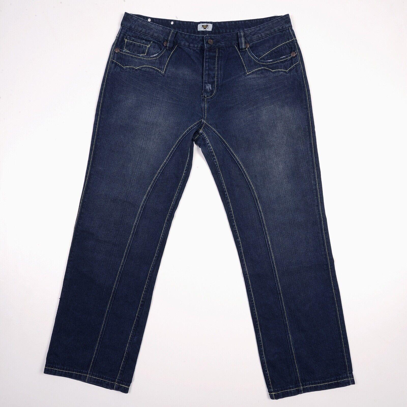 ANTIK Denim Jeans Western Topstitched Embellished Mens 38 x 33 Dark NWOT