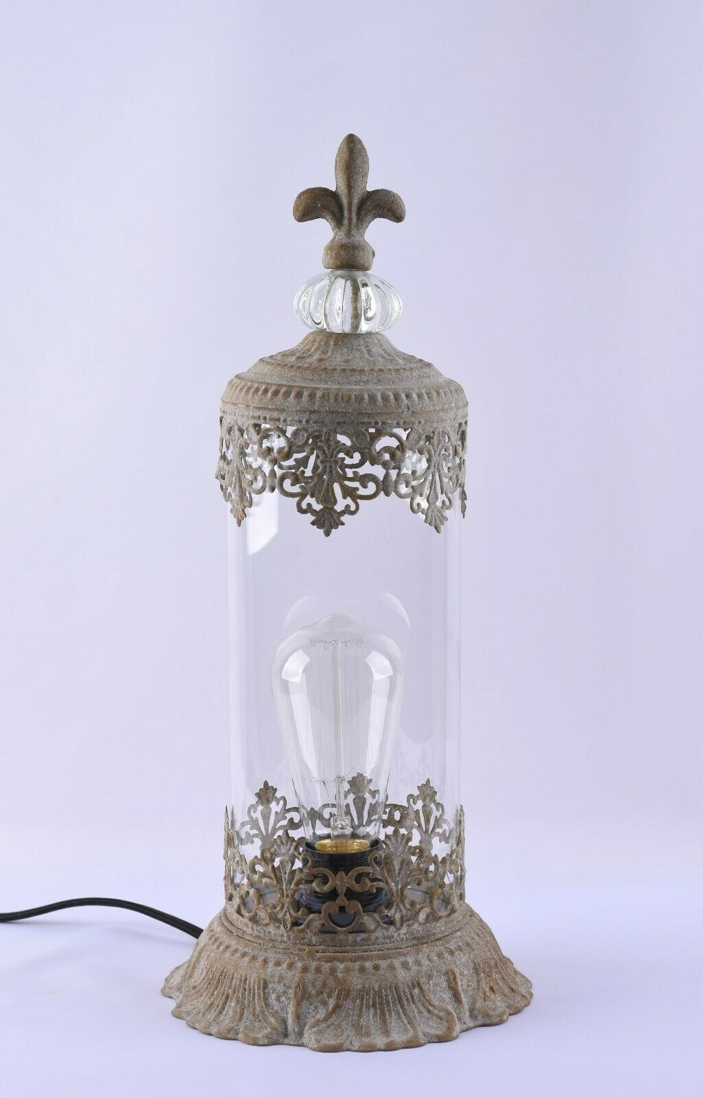 Glass Table Lamp Light Metal And Glass Rustic Antique Finish