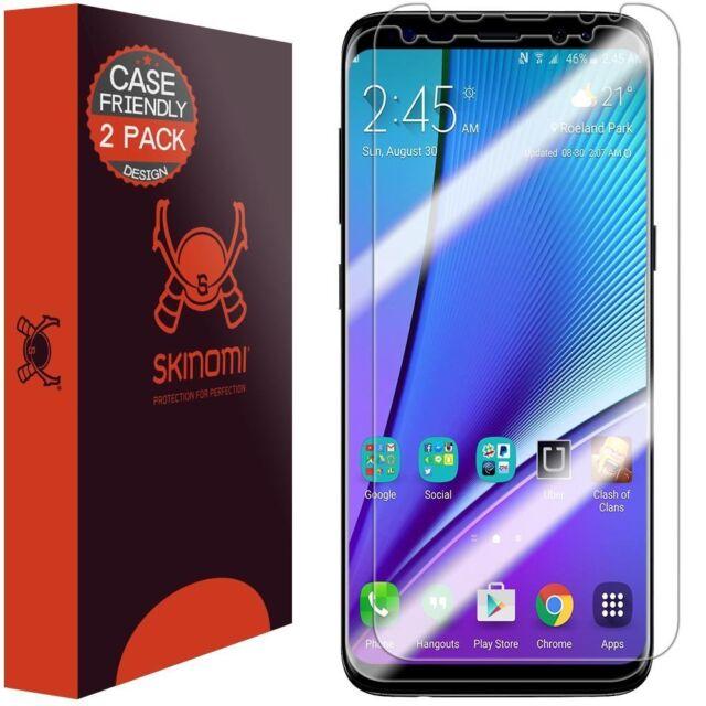 online retailer b66d9 3ca1d Samsung Galaxy S8 Plus Case Friendly Screen Protector Full Coverage HD Film  X2