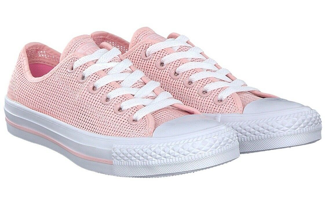 White and pink low top Converse - UK size 12