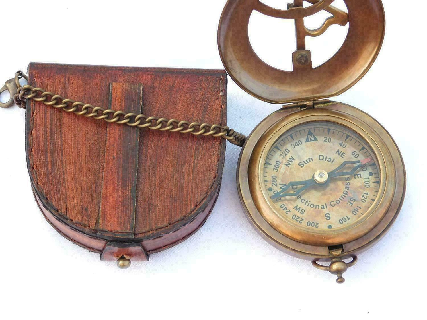 Push Open Compass - SteampunK- Brass Sundial Compass with Leather Case and Chain
