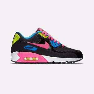 NIKE AIR MAX 90 LTR LEATHER BLACK PINK VOLT YOUTH WMN WHITE