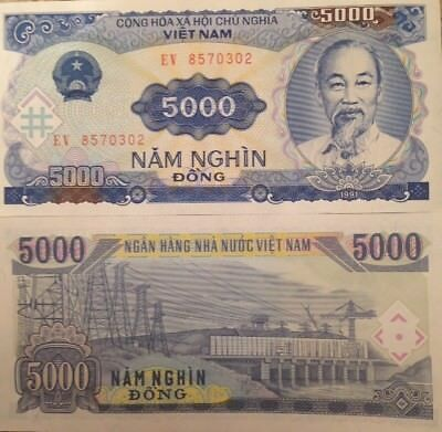 VIETNAM 1991 5000 DONG P-108 UNCIRCULATED NOTE HO CHI MINH  FROM A USA SELLER !!