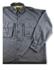 Cabela-039-s-Guidewear-Mens-Hiking-Fishing-Vented-Long-Sleeve-Shirt-Blue-Size-L