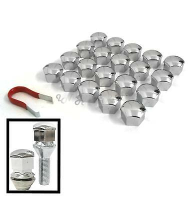 20 Car Wheel Nut / Bolt Head 17mm CHROME Cover Caps Plastic Hexagonal Protectors