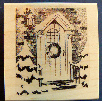 "P18 ""Front door"" Christmas card rubber stamp 3.25x2.5"" WM"